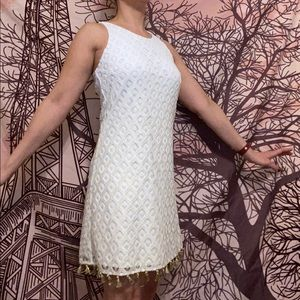 White and gold lace Lilly Pulitzer shift dress